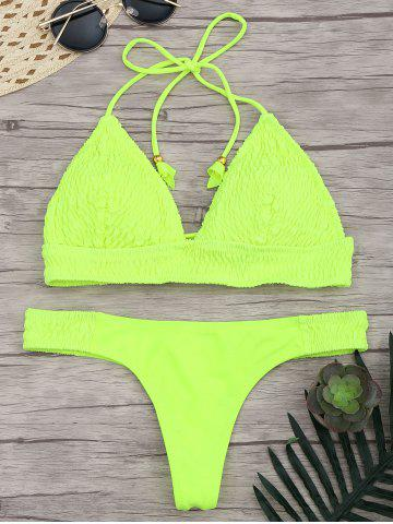 New Lace Up Halter Ruched Bikini Set FLUORESCENT YELLOW L