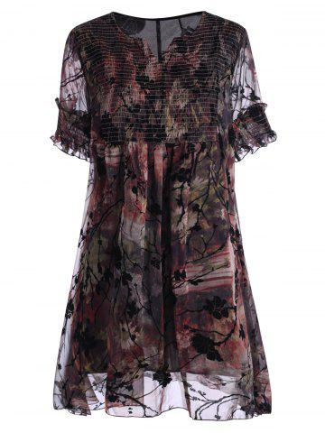 Ruched Floral Print Plus Size Robe
