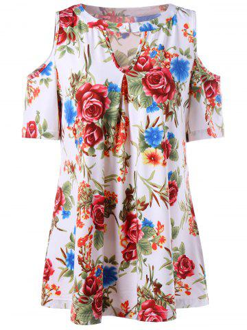 Floral Keyhole Neck Cold Shoulder T-Shirt - White - 2xl