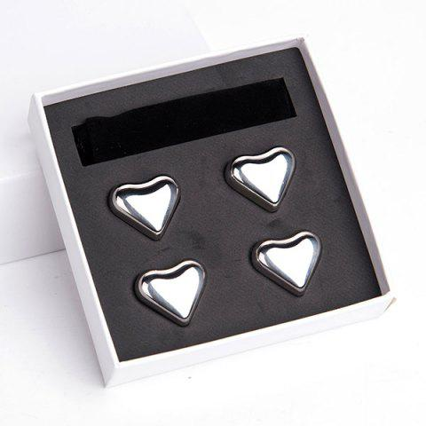 Unique 4 Pcs Wine Cooling Stone Heart Shape Stainless Steel Ice Cubes - SILVER  Mobile
