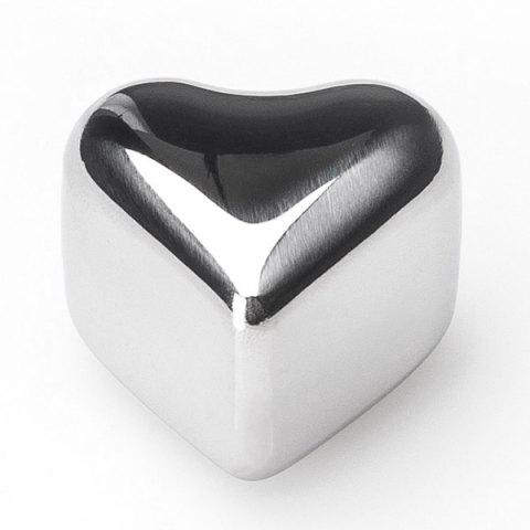 Unique 4 Pcs Wine Cooling Stone Heart Shape Stainless Steel Ice Cubes - STAINLESS STEEL  Mobile