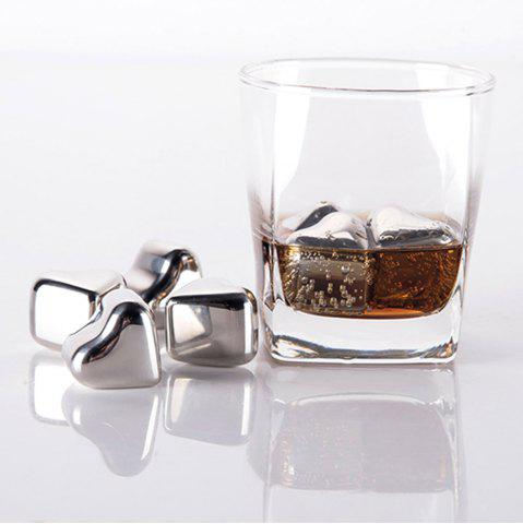 Affordable 4 Pcs Wine Cooling Stone Heart Shape Stainless Steel Ice Cubes - STAINLESS STEEL  Mobile
