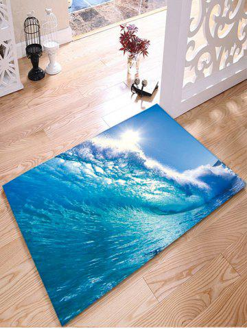 Surfing Print Flannel Water Absorption Bathroom Rug - Sky Blue - Thick W24inch*l31.5inch
