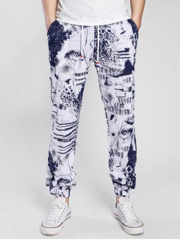 Drawstring Cotton Linen Scrawl Print Beam Feet Jogger Pants - Cadetblue - L
