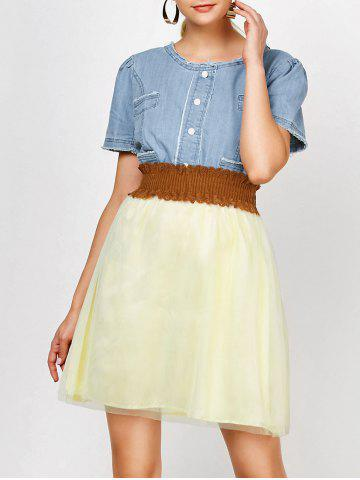 New Elegant Scoop Neck Short Sleeve Denim Splicing Chiffon Dress With Belt For Women COLORMIX XL