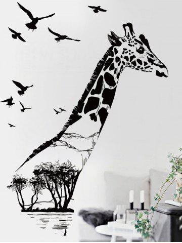 Hot Giraffe Animal Vinyl Removable Wall Sticker - 60*90CM BLACK Mobile