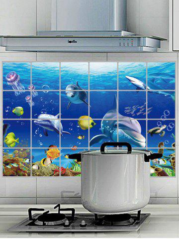 Online Anti Oil Sea World Wall Sticker For Kitchen - 60*90CM BLUE Mobile