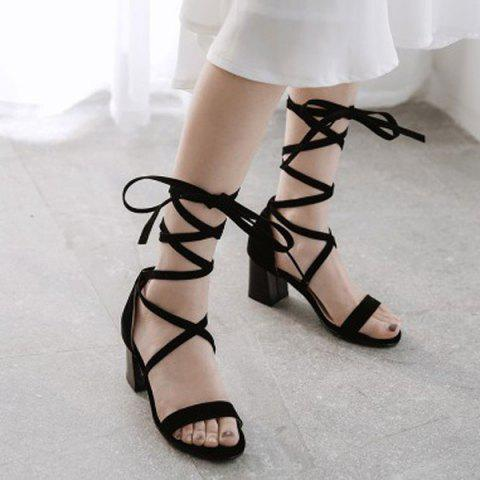 Unique Lace Up Block Heel Sandals