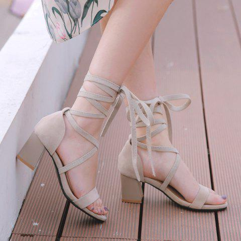 Affordable Lace Up Block Heel Sandals APRICOT 38