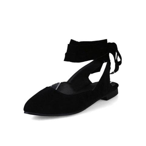 Hot Suede Leg Tie Up Flat Shoes - 37 BLACK Mobile