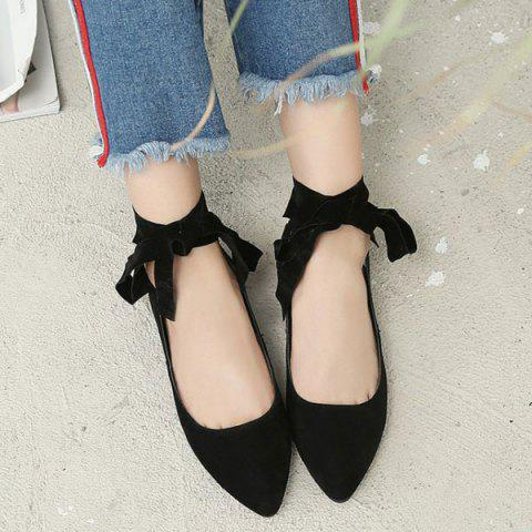 Latest Suede Leg Tie Up Flat Shoes - 37 BLACK Mobile