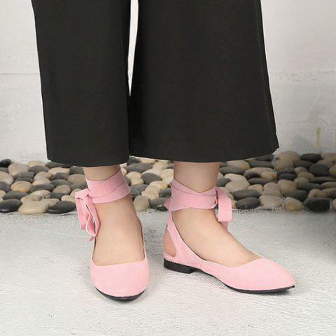 Hot Suede Leg Tie Up Flat Shoes - 39 PINK Mobile