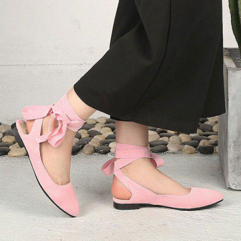 Buy Suede Leg Tie Up Flat Shoes - 39 PINK Mobile