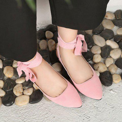 Fashion Suede Leg Tie Up Flat Shoes - 39 PINK Mobile