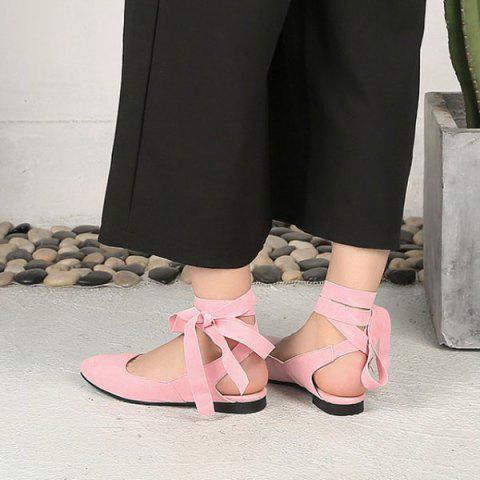Shops Suede Leg Tie Up Flat Shoes - 39 PINK Mobile