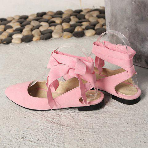 Chic Suede Leg Tie Up Flat Shoes - 39 PINK Mobile