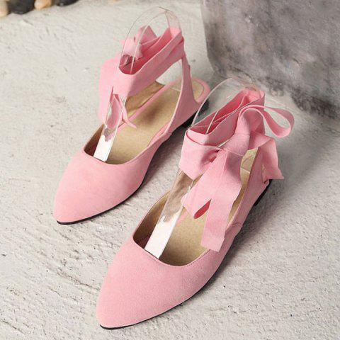 Outfit Suede Leg Tie Up Flat Shoes - 39 PINK Mobile