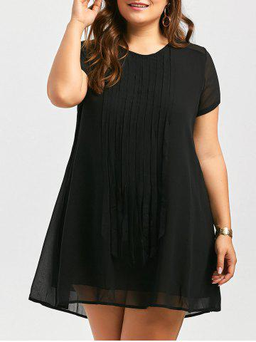 Robe Mini Fringed Plus Size Noir 3XL