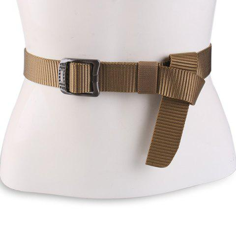 Fashion Rectangle Metal Buckle Canvas Belt - COFFEE  Mobile