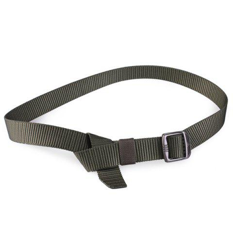 Online Rectangle Metal Buckle Canvas Belt - ARMY GREEN  Mobile