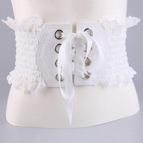 Fancy Metal Circles Lace Up Elastic Wide Corset Belt WHITE