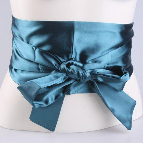 New Wide Imitation Silk Ribbon Corset Belt PEACOCK BLUE