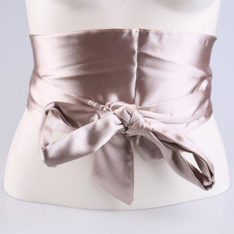 Fashion Wide Imitation Silk Ribbon Corset Belt CHAMPAGNE