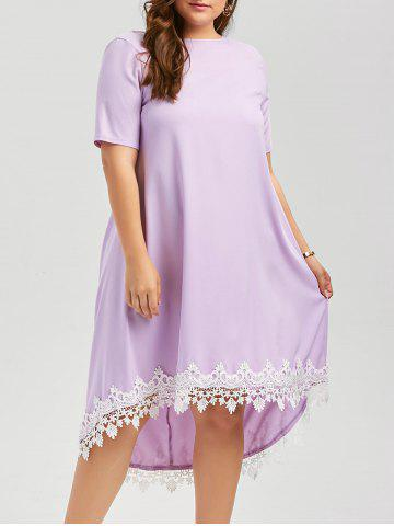 Latest Plus Size Lace Trim High Low Casual Swing Dress