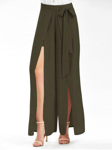 Tie Belt High Slit Wide Leg Pants - Army Green - 2xl