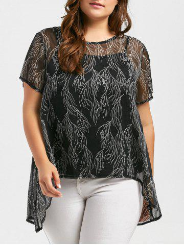 Plus Size Chiffon Sheer Blouse and Cami Top - Black - 5xl