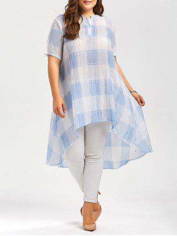 Chic Long Plus Size Asymmetric Plaid Printed Button Shirt LIGHT BLUE 5XL