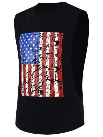 4th of July Workout Distressed American Flag Tank Top - Black - M