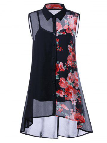 Plus Size Sleeveless Floral Button Down Blouse and Camisole - Black - Xl