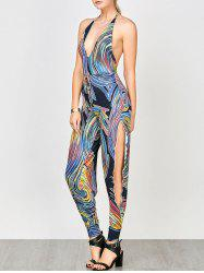Open Back Split Printed Halter Jumpsuit