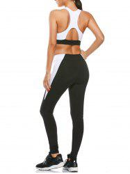 Sports Cutout Padded Bra and Two Tone Fitness Leggings - BLACK