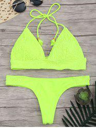 Lace Up Halter Ruched Bikini Set