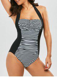 One Piece Halter Stripe Ruched Swimsuit