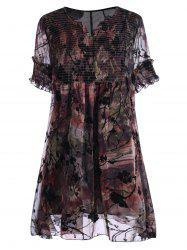 Ruched Floral Print Plus Size Robe - Floral 4XL