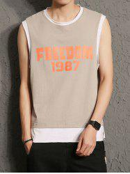 Raw Cut Graphic Print Sleeveless T-Shirt