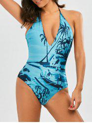 String Halter Backless Maillot de bain tropical -