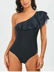 Flounce One Shoulder One Piece Swimwear