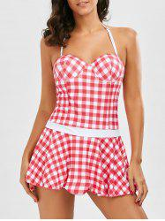 Plaid Underwire Skirted One Piece Swimsuit