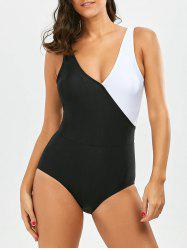 One Piece V Neck Two Tone Swimsuit