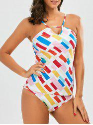 Colorful Printed Tankini Set