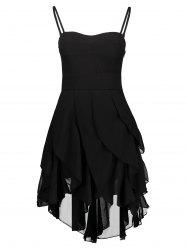 Asymmetrical Flounce Slip Gothic Dress - BLACK