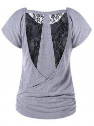 Sheer Ruched Lace Back T-Shirt