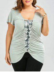 Plus Size Ruched Sequined Insert T-Shirt