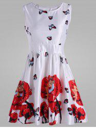 Floral Butterfly Print Skater Mini Dress