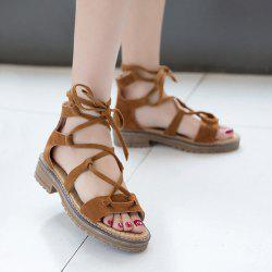 Suede Tie Up Flat Heel Sandals