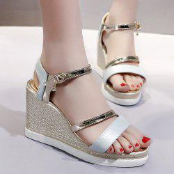 Wedge Heel Color Block Sandals